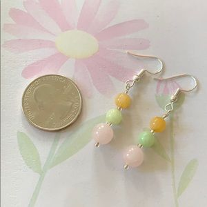 NWT simple Jade rose quartz drop earrings